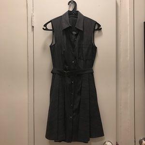 Theory Grey Chambray Button Down Dress